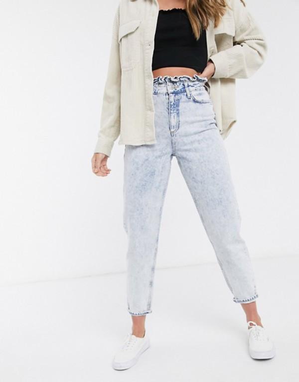 ミスセルフフリッジ レディース デニムパンツ ボトムス Miss Selfridge mom jeans with frill top in light acid wash Blue