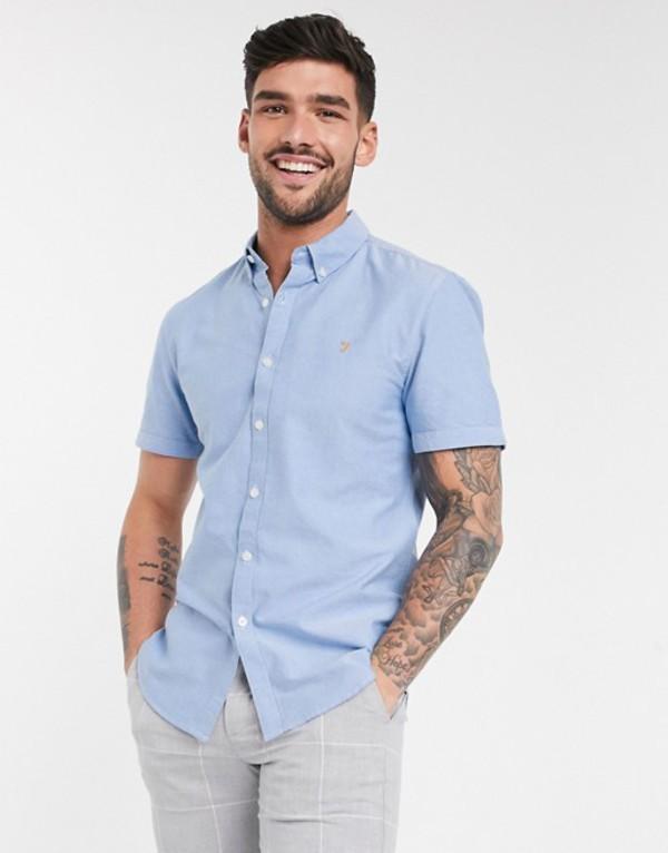 ファーラー メンズ シャツ トップス Farah Brewer slim long sleeve shirt Blue