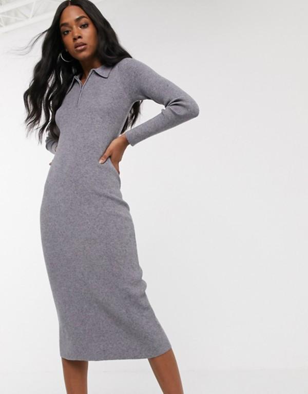 ファッションモンキー レディース ワンピース トップス Fashion Union knitted polo midi dress Gray