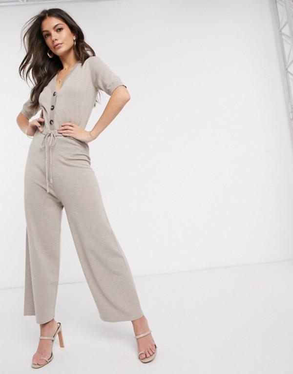 ファッションモンキー レディース ワンピース トップス Fashion Union knitted button detail jumpsuit Stone