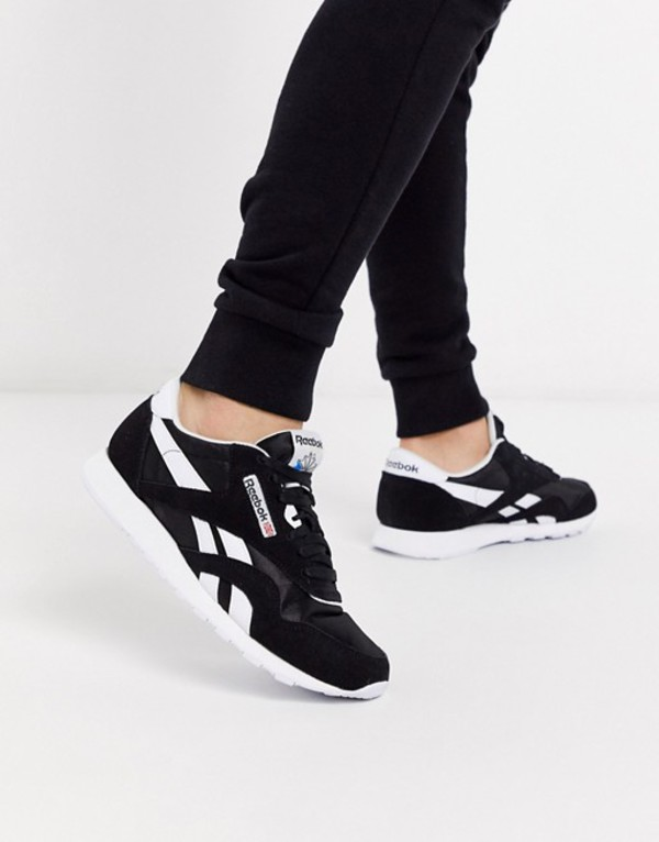 リーボック メンズ スニーカー シューズ Reebok Classic nylon sneakers in black Bk1 - black 1