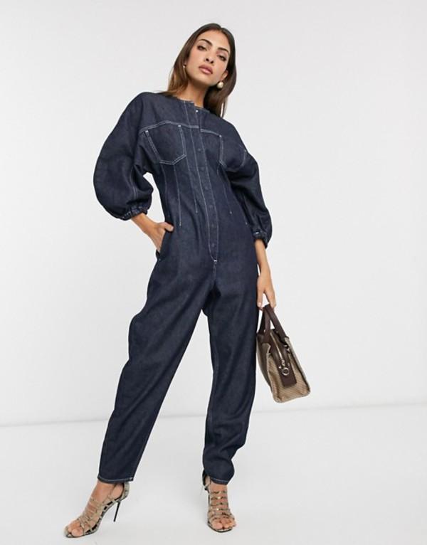 エイソス レディース ワンピース トップス ASOS DESIGN denim contour seamed jumpsuit in indigo Indigo