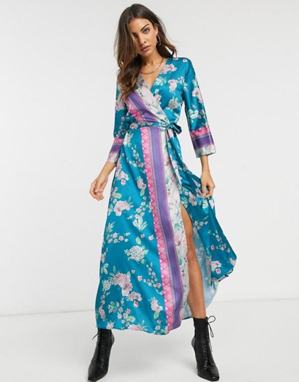 リクオリッシュ レディース ワンピース トップス Liquorish midaxi wrap dress in mixed floral and border print Blue