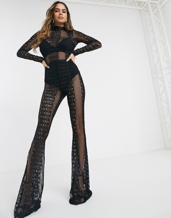 エイソス レディース ワンピース トップス ASOS DESIGN all over lace jumpsuit with long sleeves Black