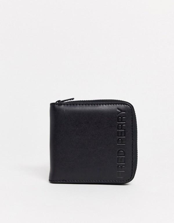 フレッドペリー メンズ 財布 アクセサリー Fred Perry embossed logo zip around wallet in black Black