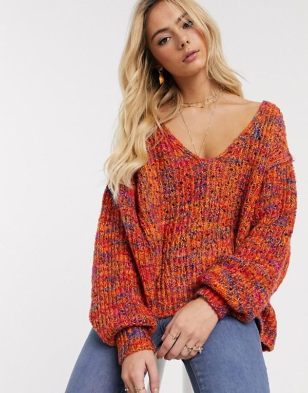 フリーピープル レディース ニット・セーター アウター Free People Highland v-neck sweater Neutral combo