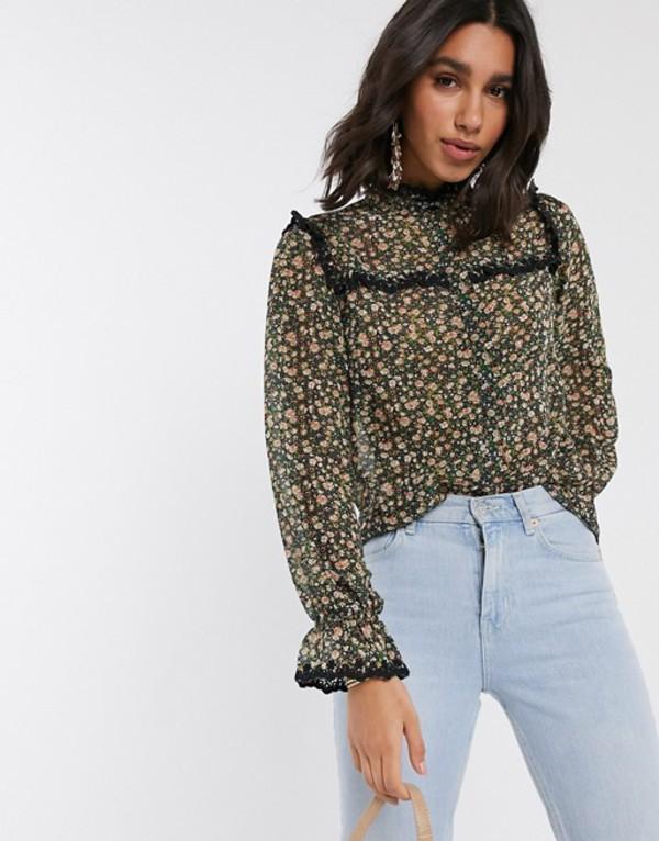 ワイエーエス レディース シャツ トップス Y.A.S shirt with lace trim in floral print Multi