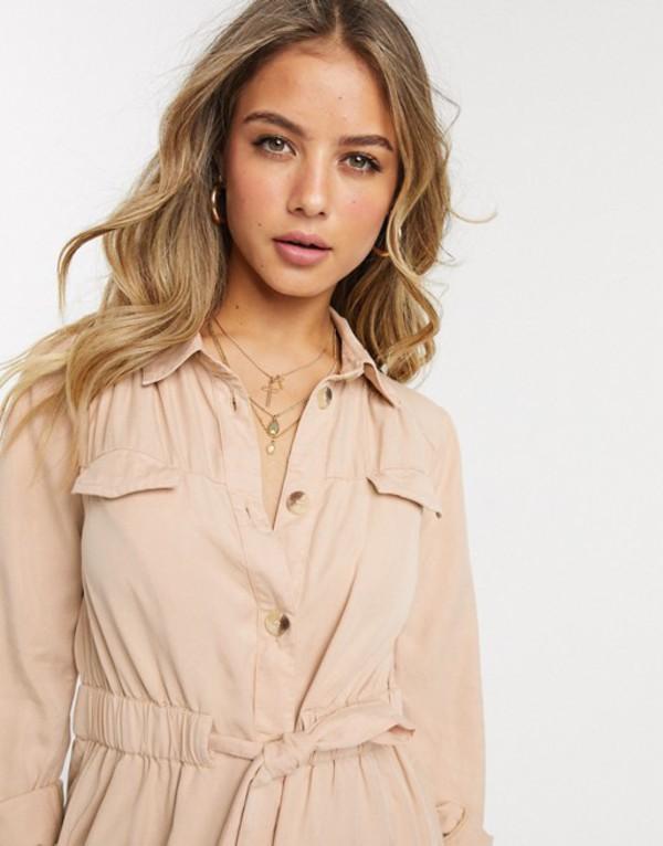 ミスセルフフリッジ レディース ワンピース トップス Miss Selfridge shirt dress with drawstring waist in camel Tan