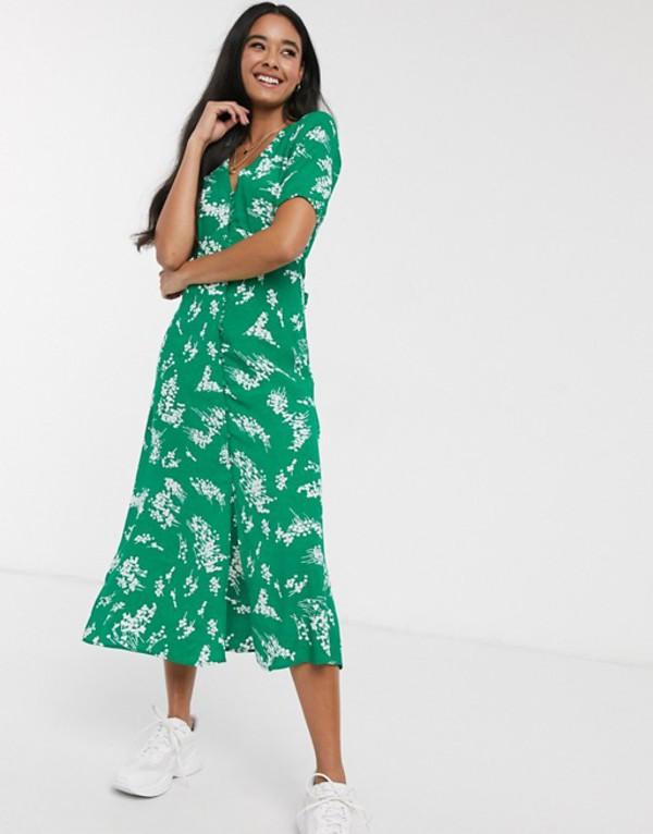 オアシス レディース ワンピース トップス Oasis floral print button down midi dress in green Multi green
