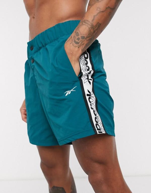 リーボック メンズ ハーフパンツ・ショーツ ボトムス Reebok Training woven shorts with logo taping in teal Teal