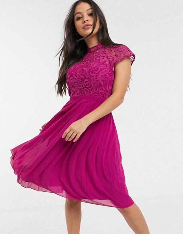 チチロンドン レディース ワンピース トップス Chi Chi London Petite lace midi dress with pleated skirt in berry Berry