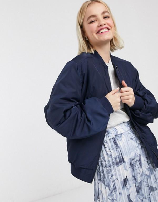 モンキ レディース ジャケット・ブルゾン アウター Monki nylon bomber jacket in navy Blue