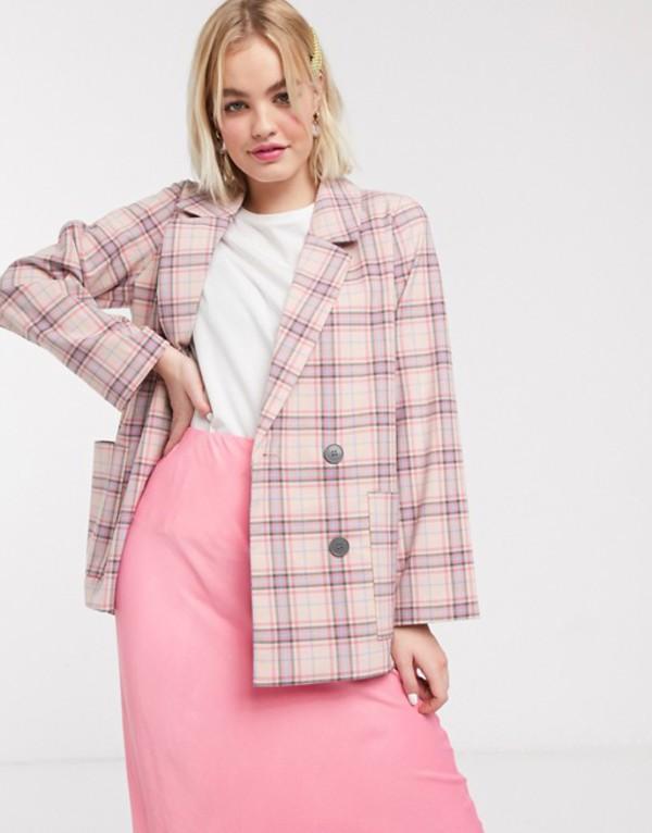 モンキ レディース ジャケット・ブルゾン アウター Monki multi check double breasted blazer in pink Pink