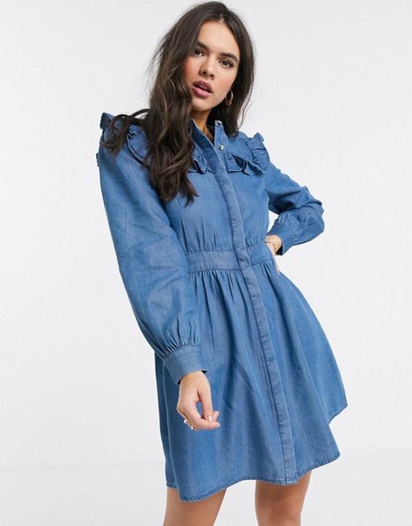 ウエアハウス レディース ワンピース トップス Warehouse ruffle bib dress blue Blue