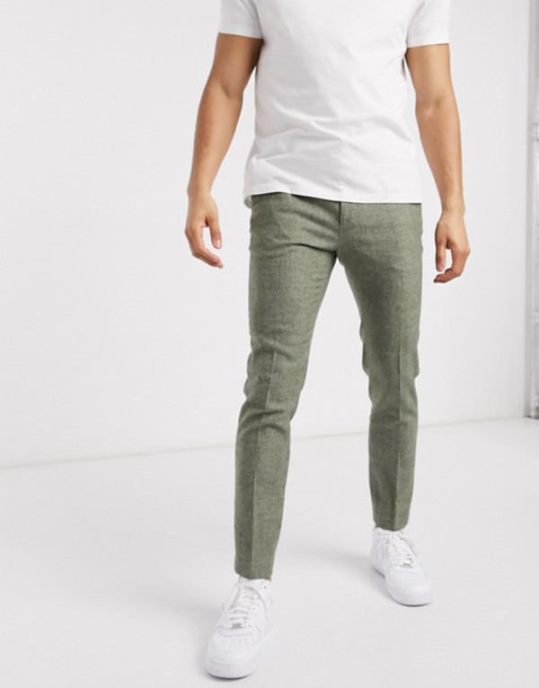 エイソス メンズ カジュアルパンツ ボトムス ASOS DESIGN super skinny smart pants in mid green dog tooth Green