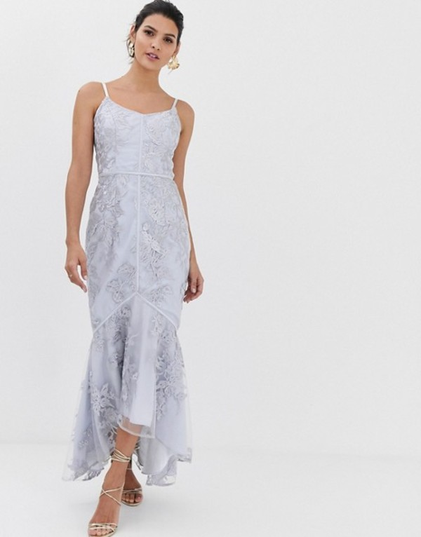 バリアーノ レディース ワンピース トップス Bariano embroidered lace fluted hem midaxi dress in gray Lilac gray