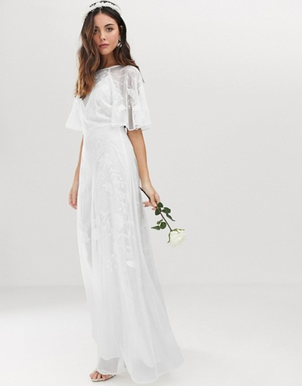 エイソス レディース ワンピース トップス ASOS EDITION embroidered flutter sleeve wedding dress White