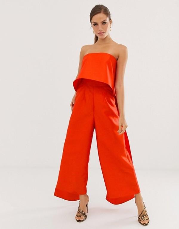 エイソス レディース ワンピース トップス ASOS EDITION bandeau jumpsuit with double layer Tomato red