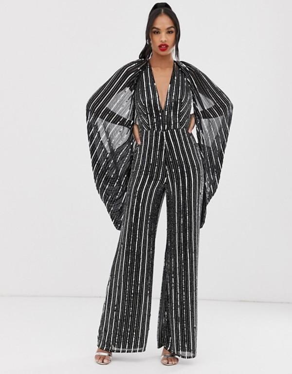 エイソス レディース ワンピース トップス ASOS EDITION cape sleeve jumpsuit in sequin stripe Black/silver