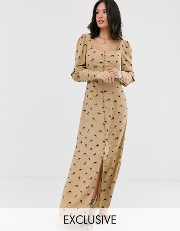 グラマラス レディース ワンピース トップス Glamorous milkmaid maxi dress in all over horse print Tan