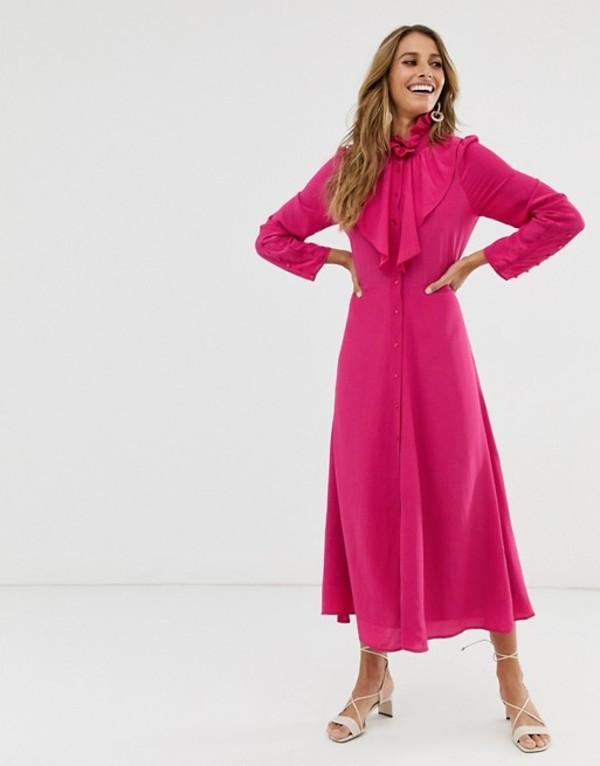 アンドアザーストーリーズ レディース ワンピース トップス & Other Stories maxi dress with button and neck detail in fuschia Pink