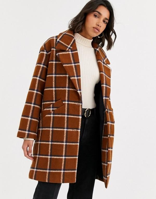 マンゴ レディース コート アウター Mango check mid length coat in brown Brown