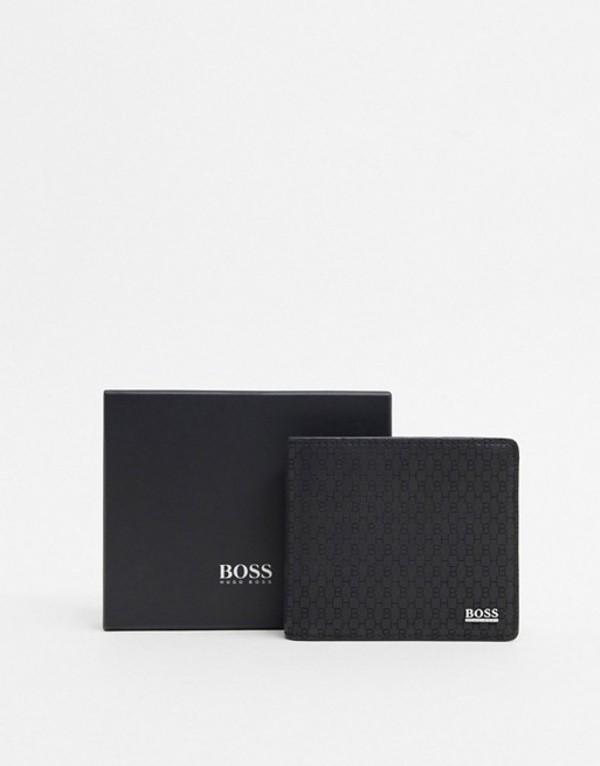 ボス メンズ 財布 アクセサリー BOSS Crosstown leather wallet in black Black