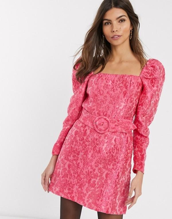 アンドアザーストーリーズ レディース ワンピース トップス & Other Stories puff sleeve belt detail mini dress in pink floral jacquard Pink