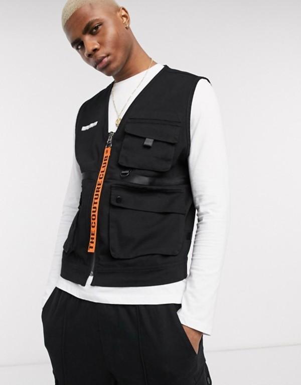 ザ クチュール クラブ メンズ タンクトップ トップス The Couture Club utility vest with zip tag in black Black