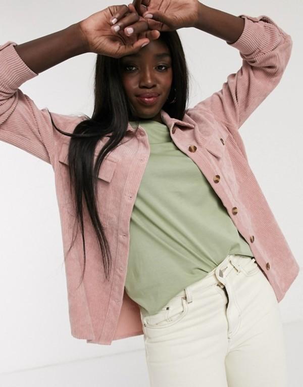 ピーシーズ レディース シャツ トップス Pieces cord oversized shirt in pink Pink