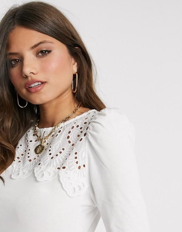 ウエアハウス レディース シャツ トップス Warehouse victoriana lace yolk blouse in white White