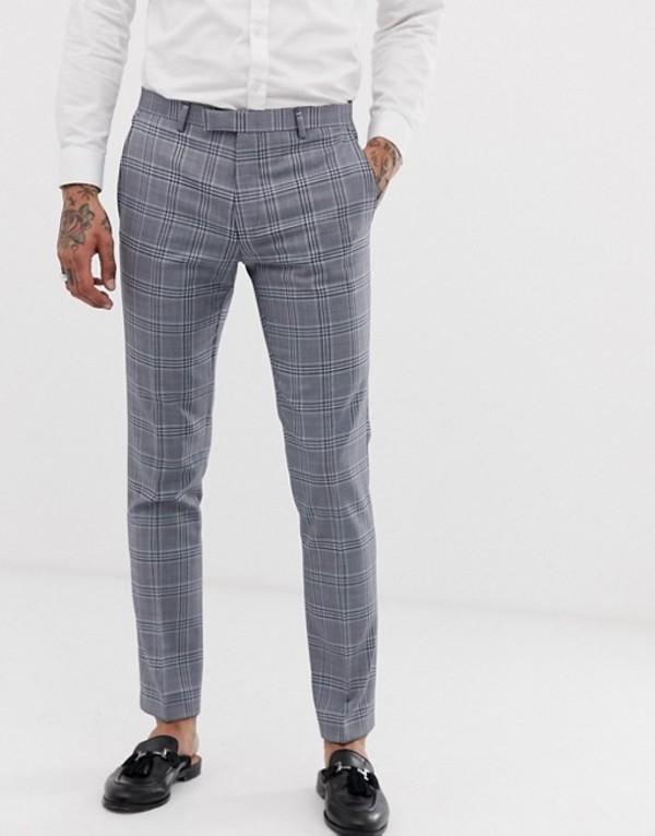 ツイステッド テイラー メンズ カジュアルパンツ ボトムス Twisted Tailor super skinny suit pants in gray check Gray