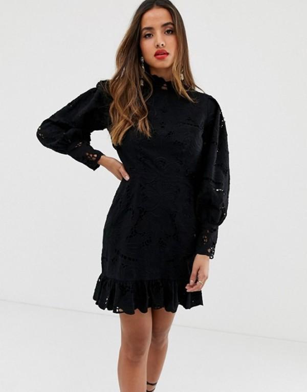 エイソス レディース ワンピース トップス ASOS EDITION cutwork mini dress with open back Black