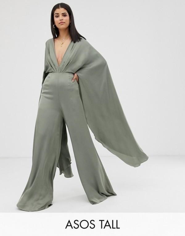 エイソス レディース ワンピース トップス ASOS EDITION Tall cape sleeve jumpsuit in satin Sage
