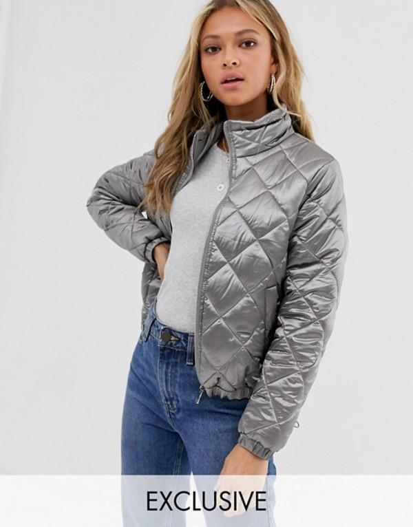 ウェンズデーガール レディース ジャケット・ブルゾン アウター Wednesday's Girl quilted bomber jacket Silver