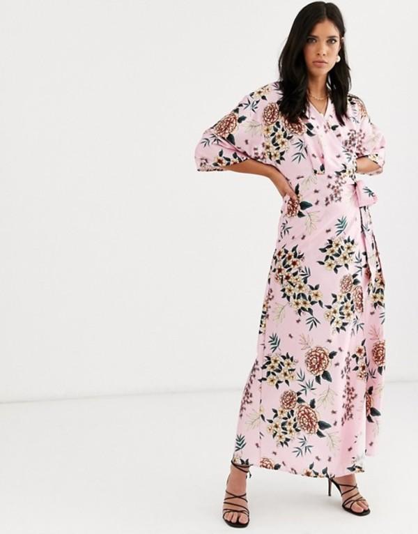 リクオリッシュ レディース ワンピース トップス Liquorish satin floral wrap dress Pink multi