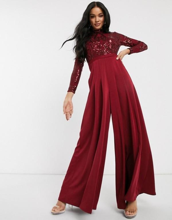 バリアーノ レディース ワンピース トップス Bariano long sleeved wide leg jumpsuit with embellished top in deep red Deep red