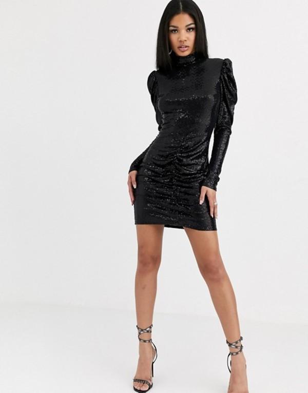 フラウンスロンドン レディース ワンピース トップス Flounce London sequin statement mini dress in black Black