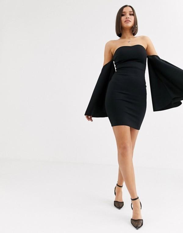 クラブエル ロンドン レディース ワンピース トップス Club L London bandeau midi bodycon dress with fluted sleeve detail in black Black