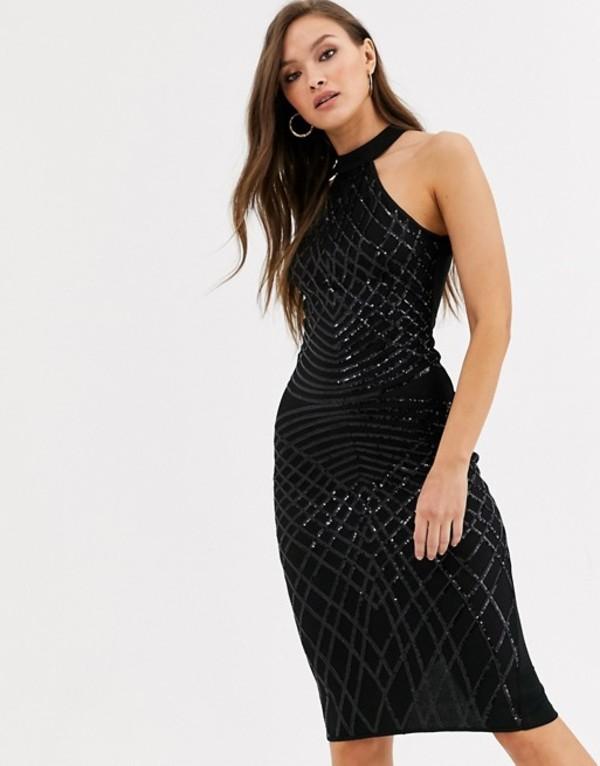 アックスパリ レディース ワンピース トップス AX Paris high neck sequin mini dress in black Black