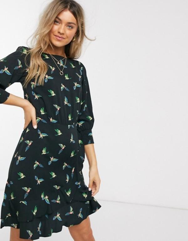 オアシス レディース ワンピース トップス Oasis bird print frill cuff skater dress in black Multi black