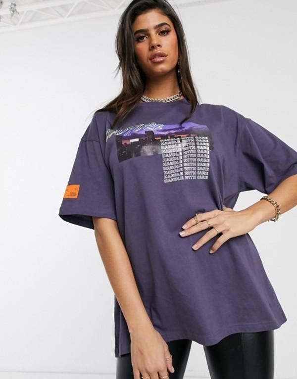 ザ クチュール クラブ レディース ワンピース トップス The Couture Club motif t-shirt in lilac Blue