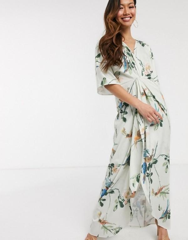 ホープ&アイビー レディース ワンピース トップス Hope & Ivy kimono maxi dress in swallow floral print Multi