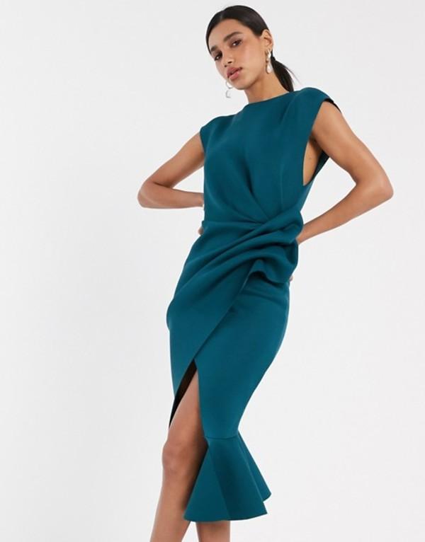 エイソス レディース ワンピース トップス ASOS DESIGN t-shirt tuck pencil midi dress with pep hem Teal