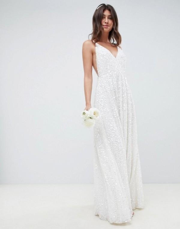 エイソス レディース ワンピース トップス ASOS EDITION sequin cami wedding dress White