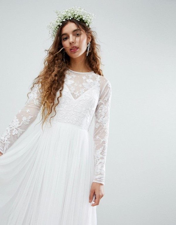 エイソス レディース ワンピース トップス ASOS EDITION embroidered bodice maxi wedding dress White