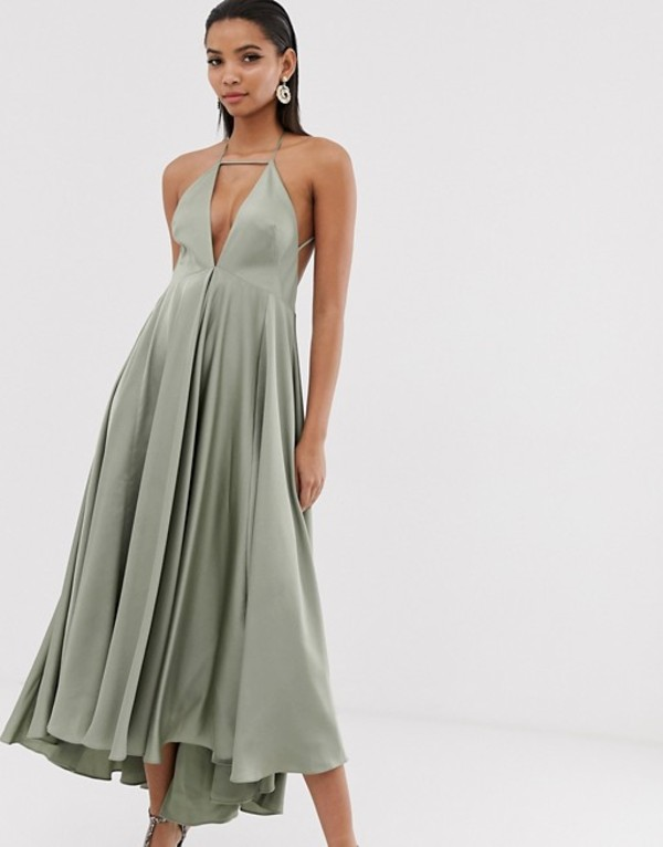 エイソス レディース ワンピース トップス ASOS EDITION plunge cami midi dress with full skirt Sage