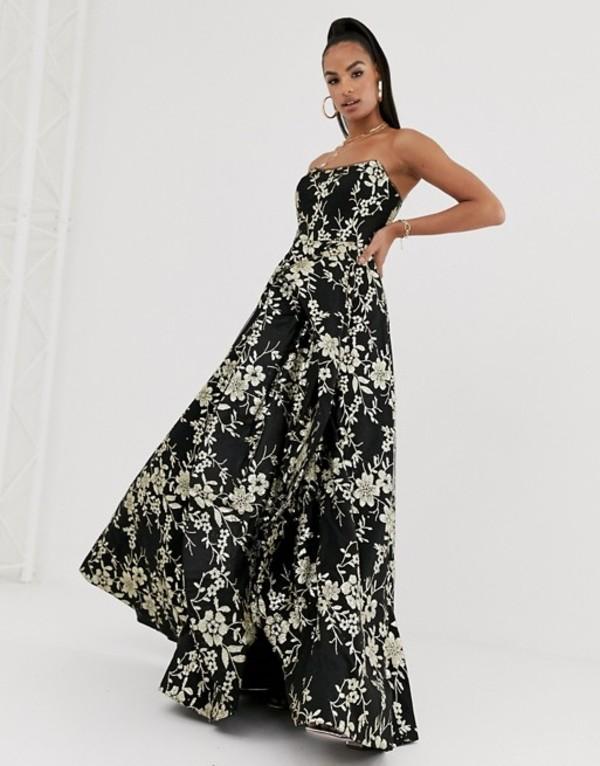 バリアーノ レディース ワンピース トップス Bariano strapless glitter ballgown in black and gold Black goldOPk8nwN0X