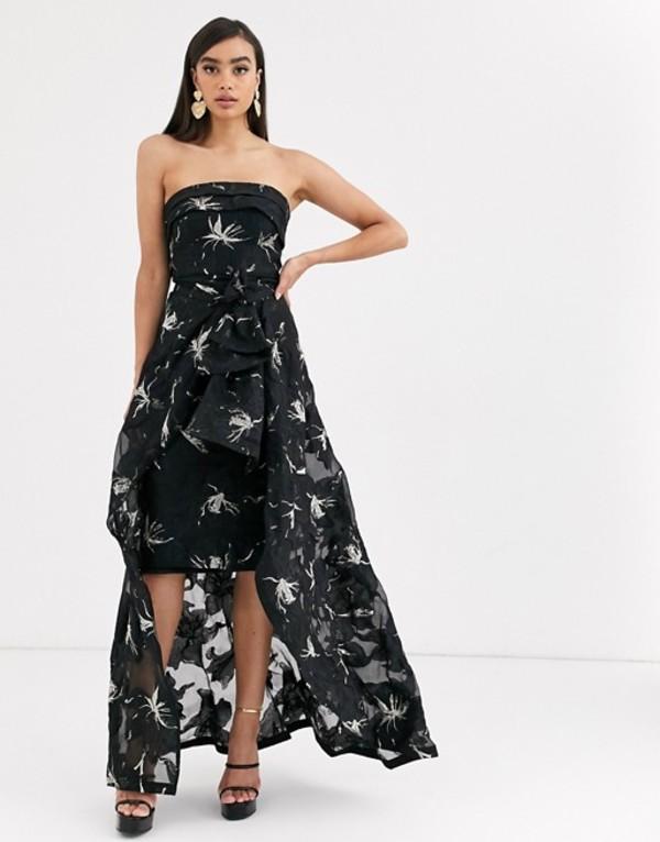 バリアーノ レディース ワンピース トップス Bariano organza pencil dress with ruffle detail and dip hem in black Black