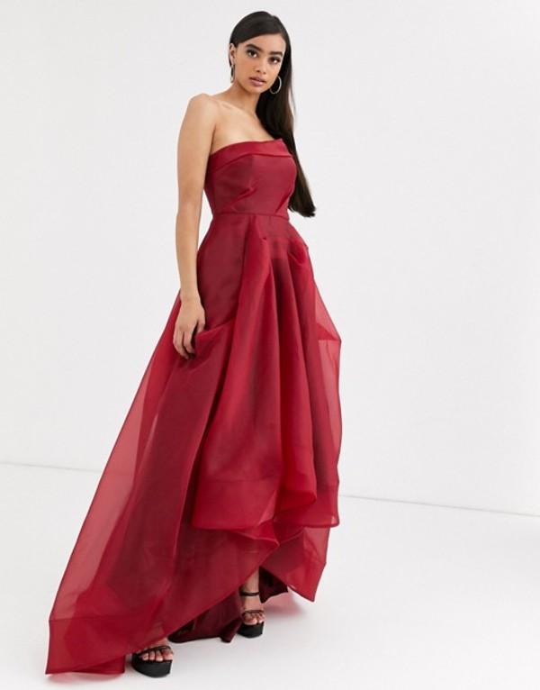 バリアーノ レディース ワンピース トップス Bariano full maxi dress with organza bust detail in wine red Wine red